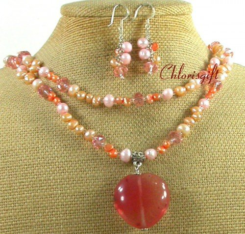 CHERRY QUARTZ PINK CRYSTAL PEARL NECKLACE/EARRINGS SET