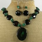 BLACK GREEN AGATE MALACHITE NECKLACE/EARRINGS SET