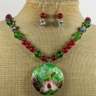 FLOWER CLOISONNE RED JADE CRYSTAL NECKLACE/EARRINGS SET