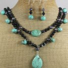 TURQUOISE BLACK AGATE PEARLS 2ROW NECKLACE/EARRINGS SET
