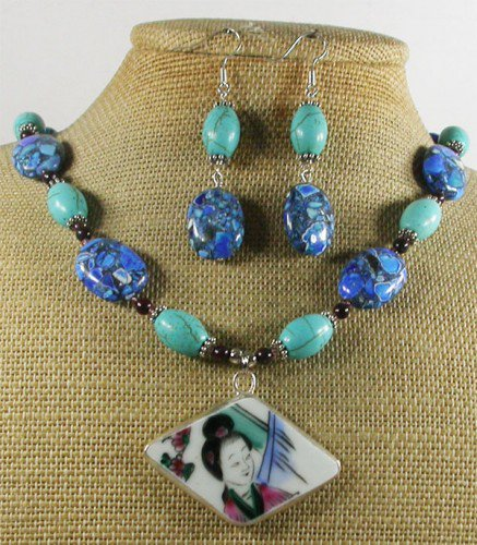POTTERY SHARD NECKLACE/EARRINGS SET