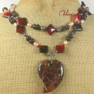 BACCIATED JASPER RED BLACK AGATE PEARLS 2ROW NECKLACE