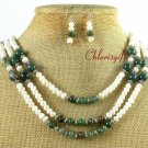 FANCY JASPER & FRESH WATER PEARL NECKLACE/EARRINGS SET