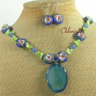 BLUE AGATE CORAL FLOWER CLOISONNE NECKLACE/EARRINGS SET