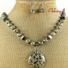 DALMATIAN JASPER BLACK AGATE NECKLACE/EARRINGS SET