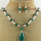 GREEN AGATE FRESH WATER PEARLS NECKLACE/EARRINGS SET
