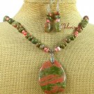 UNAKITE & FRESH WATER PEARLS NECKLACE/EARRINGS SET