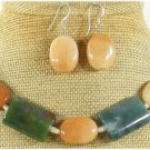 FANCY JASPER YELLOW JADE NECKLACE/EARRINGS SET
