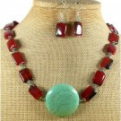 TURQUOISE RED AGATE NECKLACE/EARRINGS SET