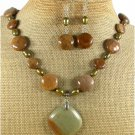 RHYOLITE BROWN AGATE PEARLS NECKLACE/EARRINGS SET