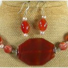RED CARNELIAN & FW PEARL NECKLACE/EARRINGS SET