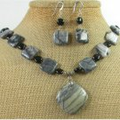 PICASSO JASPER & BLACK AGATE NECKLACE/EARRINGS SET