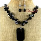 BLACK AGATE CRYSTAL PEARLS NECKLACE/EARRINGS SET