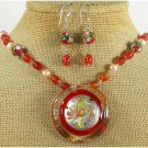 MURANO GLASS CLOISONNE CARNELIAN NECKLACE/EARRINGS SET