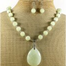 NATURAL SERPENTINE JADE NECKLACE/EARRINGS SET