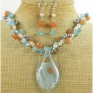 MURANO GLASS JADE QUARTZ PEARLS NECKLACE/EARRINGS SET
