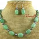 GREEN JADE & FRESH WATER PEARLS NECKLACE/EARRINGS SET