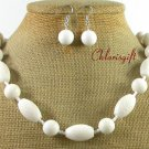NATURAL WHITE SPONGE CORAL NECKLACE/EARRINGS SET