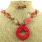 RED CINNABAR TIGER QUARTZ CORAL NECKLACE/EARRINGS SET