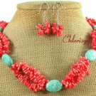 TURQUOISE & PINK CORAL NECKLACE/EARRINGS SET