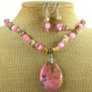 RHODONITE CAT EYE CRAZY AGATE NECKLACE/EARRINGS SET