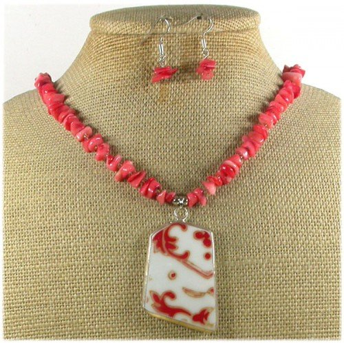 MING DYNASTY POTTERY SHARD CORAL NECKLACE/EARRINGS SET