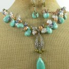 TURQUOISE CLEAR QUARTZ FW PEARL NECKLACE/EARRINGS SET