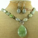 SERPENTINE JADE GREEN PICASSO NECKLACE/EARRINGS SET