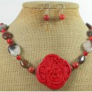 RED CINNABAR & MOOKITE & CORAL NECKLACE/EARRINGS SET