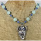 120815 OWL PENDANT BLUE JADE CRYSTAL NECKLACE