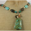 120815 MOSAIC TURQUOISE JADE JASPER CRYSTAL PEARLS NECKLACE