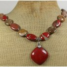 120815 RED JASPER & BROWN AGATE NECKLACE