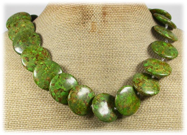 120815 GREEN MOSAIC TURQUOISE NECKLACE
