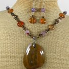 ABALONE FLOWER CRAZY AGATE JASPER NECKLACE/EARRINGS SET