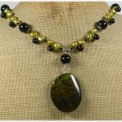 FIRE AGATE BLACK AGATE FRESH WATER PEARLS NECKLACE