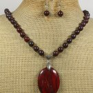 RED JASPER BACCIATED JASPER NECKLACE/EARRINGS SET