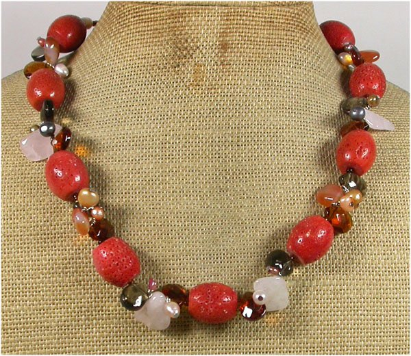 RED CORAL ROSE QUARTZ CRYSTAL FRESH WATER PEARLS NECKLACE