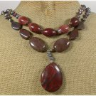 PICTURE JASPER RED JASPER TOURMALINE PEARLS 2ROW NECKLACE
