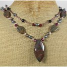 IMPERIAL JASPER BLACK AGATE PEARLS 2ROW NECKLACE