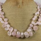 NATURAL ROSE QUARTZ 2ROW NECKLACE