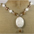 Handmade WHITE TURQUOISE CORAL BROWN AGATE PEARLS NECKLACE