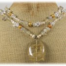 CITRINE QUARTZ CLEAR QUARTZ FRESH WATER PEARLS 2ROW NECKLACE