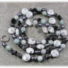 "LONG! 40"" KIWI SESAME JASPER AMAZONITE BLACK AGATE LABORADITE PEARLS NECKLACE"