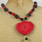 RED CINNABAR CORAL AGATE VOLCANO LAVA NECKLACE