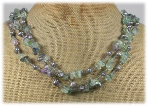 FLUORITE & FRESH WATER PEARLS 3ROW NECKLACE