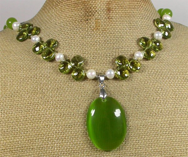 OLIVE CAT EYE CRYSTAL FRESH WATER PEARLS NECKLACE