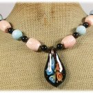 FLOWER LAMPWORK BLACK AGATE CORAL NECKLACE