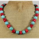 BLUE TURQUOISE RED CORAL NECKLACE