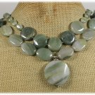 NATURAL GREEN RUTILATED JASPER 2ROW NECKLACE