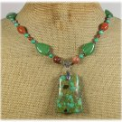 GREEN MOSAIC TURQUOISE HONEY GREEN JADE NECKLACE